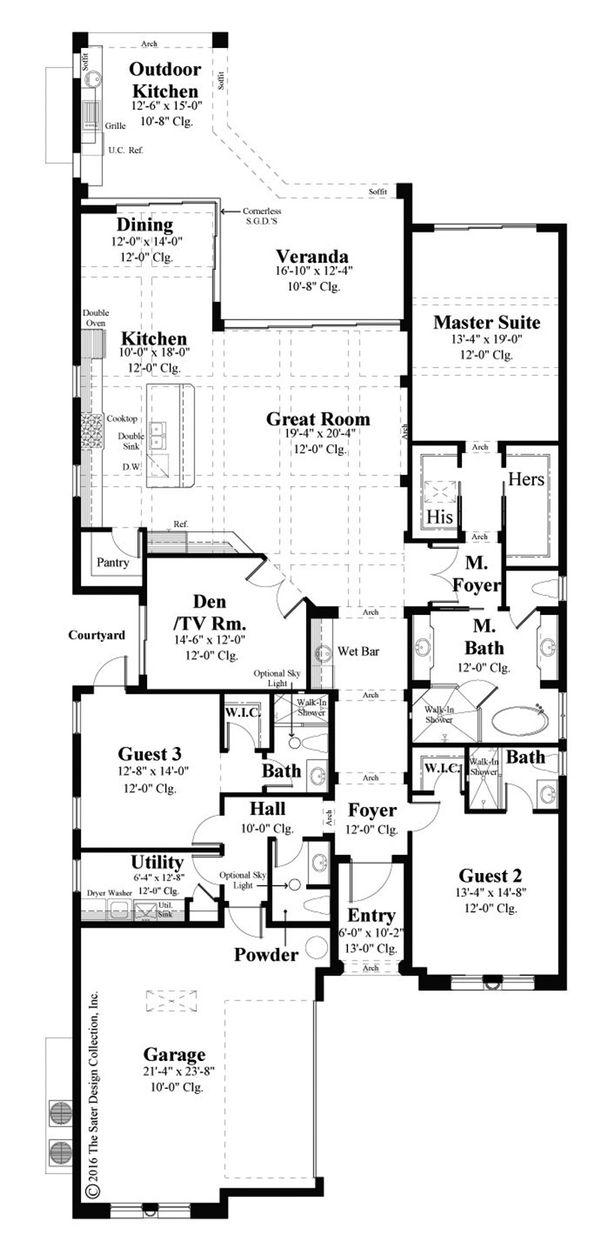 House Plan Design - Mediterranean Floor Plan - Main Floor Plan #930-488