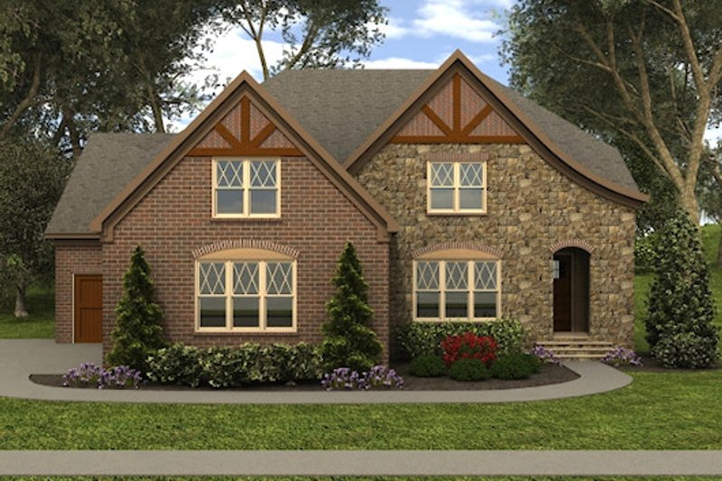 Tudor Exterior - Front Elevation Plan #413-889