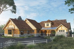 Log Exterior - Front Elevation Plan #942-43