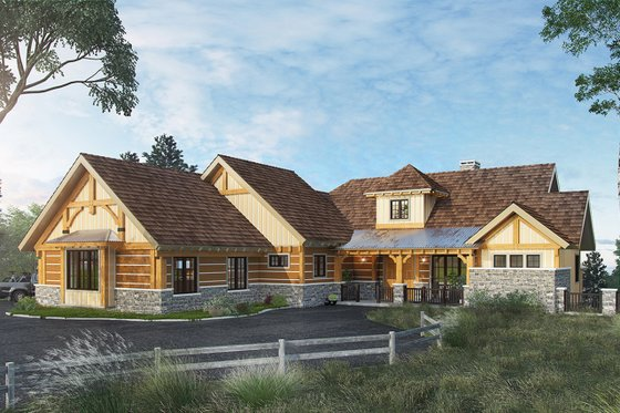Home Plan - Log Exterior - Front Elevation Plan #942-43