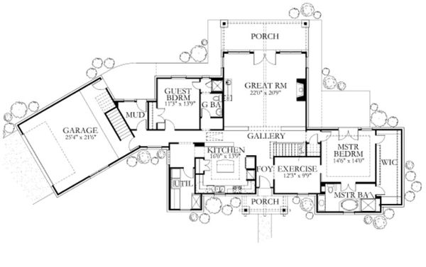 Farmhouse Floor Plan - Main Floor Plan Plan #80-156