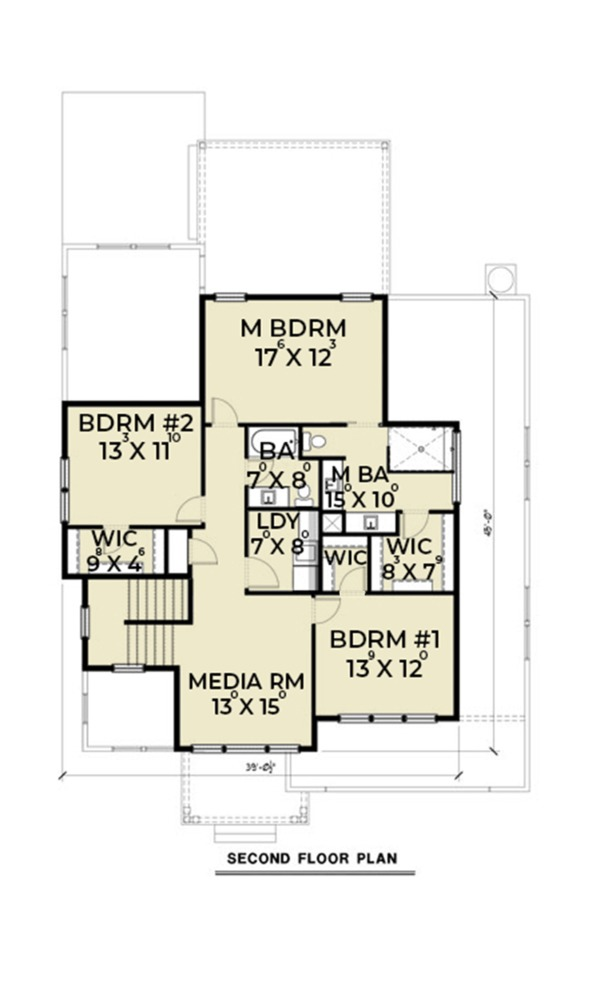 Contemporary Floor Plan - Upper Floor Plan Plan #1070-18