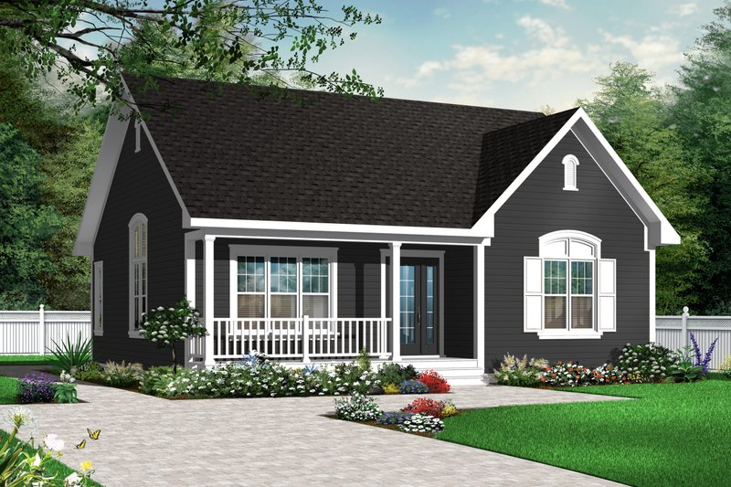 Country Style House Plan - 2 Beds 1 Baths 1113 Sq/Ft Plan #23-2278 Exterior - Front Elevation
