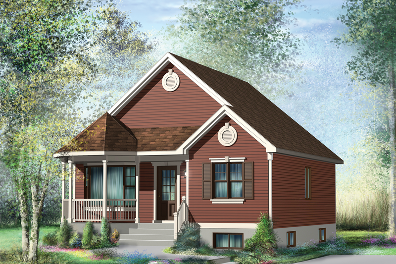 Country Style House Plan - 2 Beds 1 Baths 845 Sq/Ft Plan #25-4430 Exterior - Front Elevation