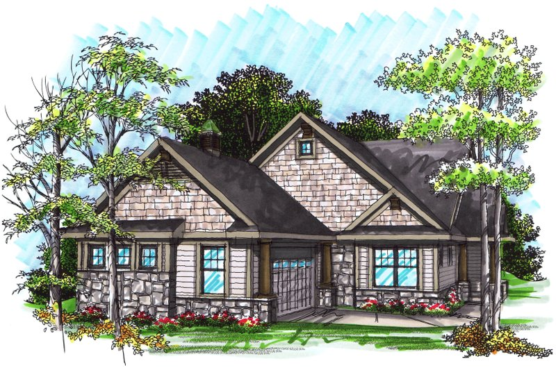 Ranch Exterior - Front Elevation Plan #70-1030