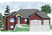 Ranch Style House Plan - 4 Beds 2 Baths 2085 Sq/Ft Plan #5-127 Exterior - Front Elevation