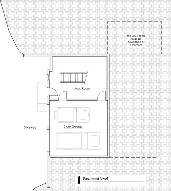 Craftsman Floor Plan - Lower Floor Plan #902-2