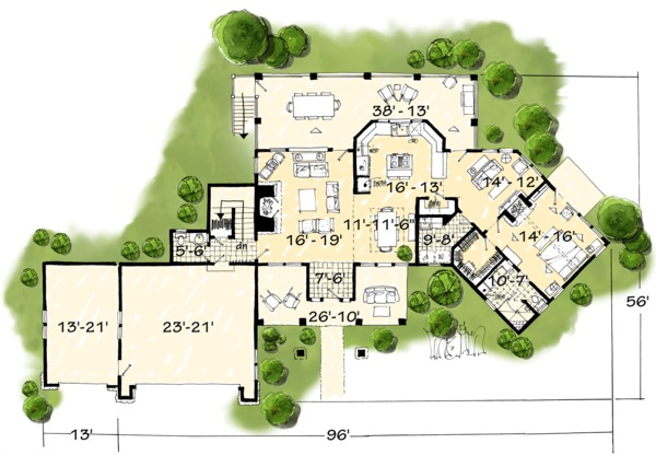 Country Floor Plan - Main Floor Plan Plan #942-24