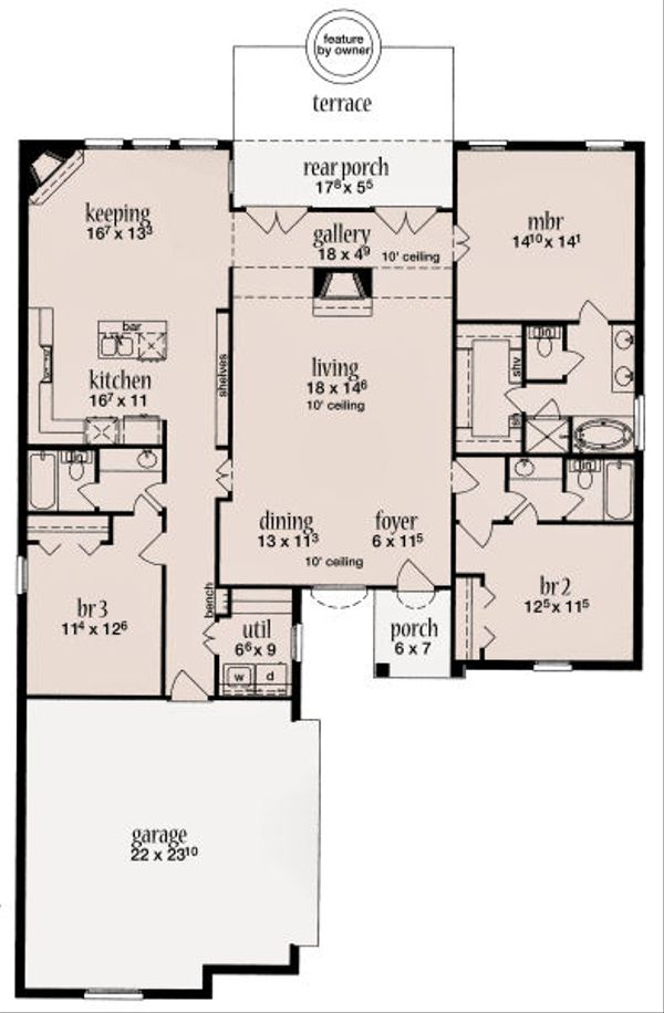 European Floor Plan - Main Floor Plan Plan #36-481
