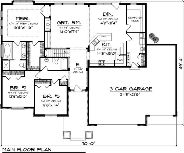 House Plan Design - Craftsman Floor Plan - Main Floor Plan #70-1097