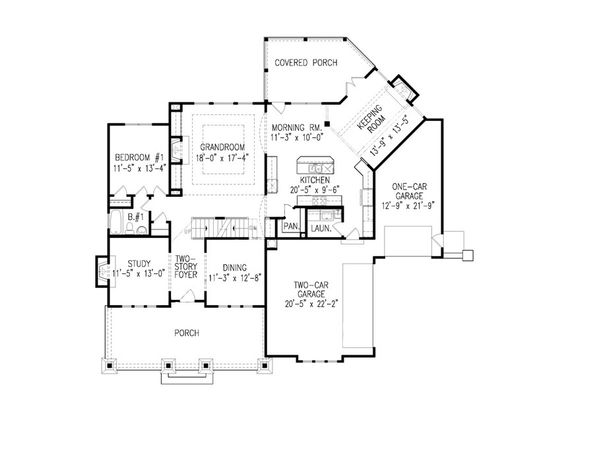 Farmhouse Floor Plan - Main Floor Plan Plan #54-407