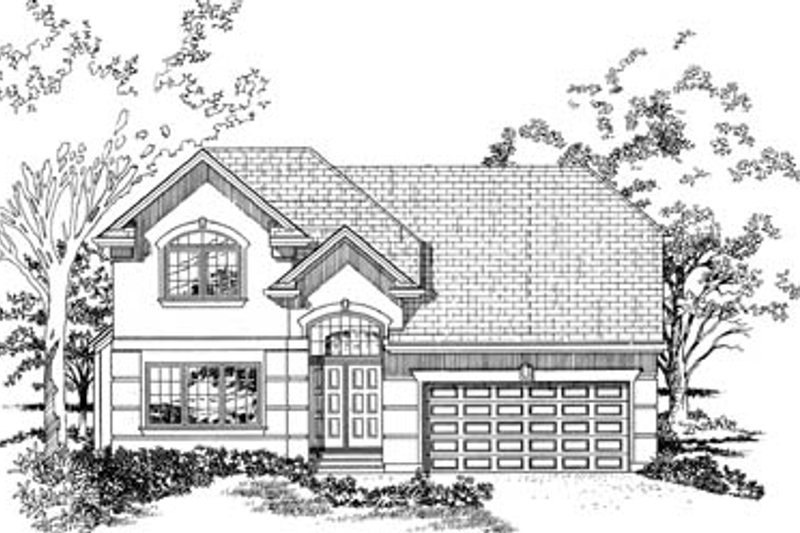 Mediterranean Style House Plan - 4 Beds 2.5 Baths 2430 Sq/Ft Plan #47-535 Exterior - Front Elevation