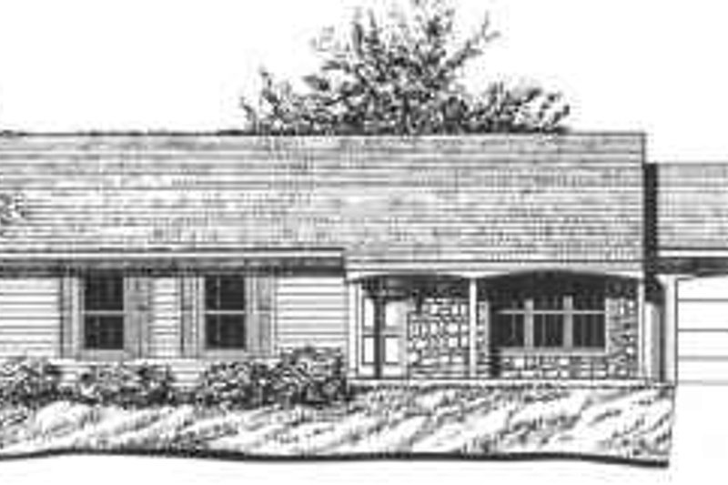 Ranch Style House Plan - 3 Beds 2 Baths 1175 Sq/Ft Plan #30-111 Exterior - Front Elevation