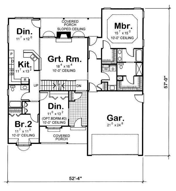 Traditional Floor Plan - Main Floor Plan Plan #20-123