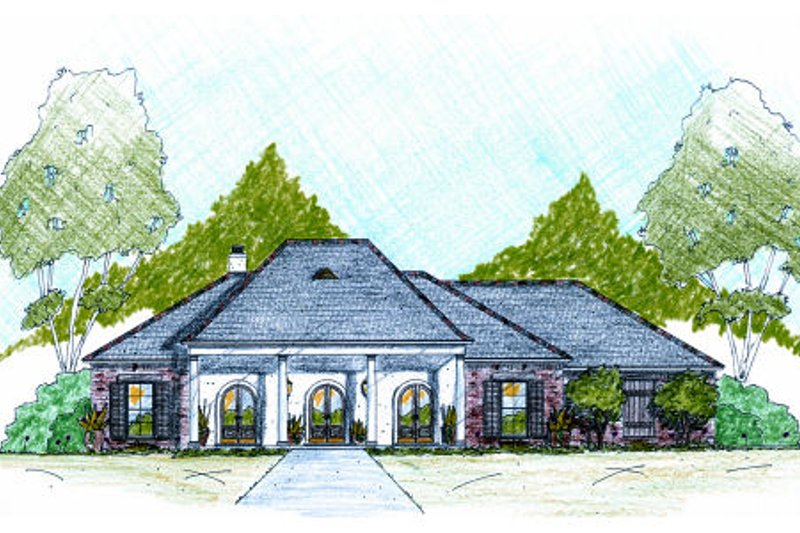 Southern Exterior - Front Elevation Plan #36-485