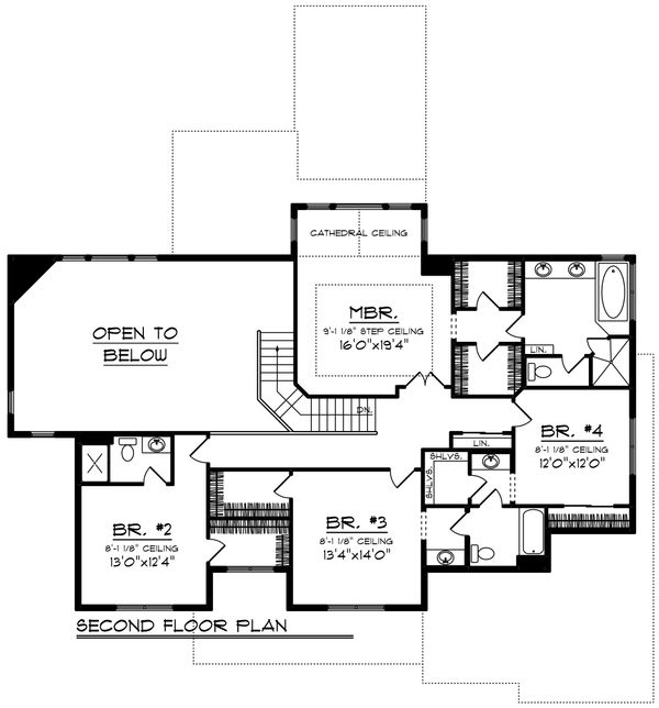 Craftsman Floor Plan - Upper Floor Plan Plan #70-1432