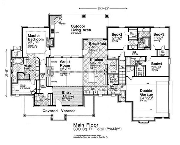 European Floor Plan - Main Floor Plan Plan #310-1303