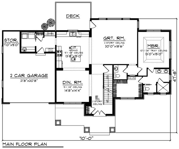 Craftsman Floor Plan - Main Floor Plan Plan #70-1249