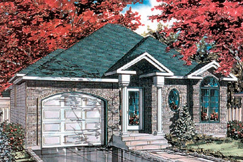 European Style House Plan - 2 Beds 1 Baths 952 Sq/Ft Plan #138-208 Exterior - Front Elevation