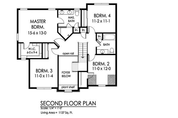 Traditional Floor Plan - Upper Floor Plan Plan #1010-224