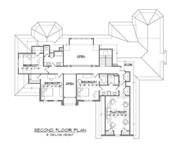 Traditional Floor Plan - Upper Floor Plan Plan #1054-80