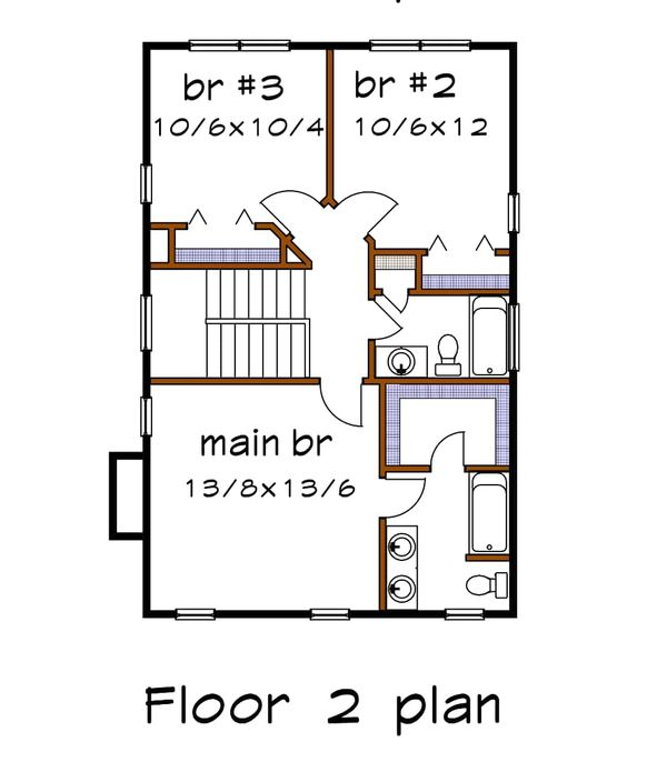 Bungalow Floor Plan - Upper Floor Plan Plan #79-261