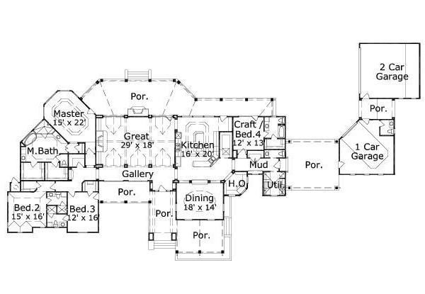 Mediterranean Floor Plan - Main Floor Plan Plan #411-271