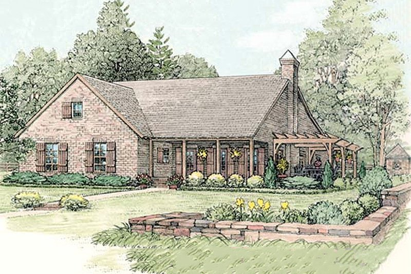 Country Style House Plan - 3 Beds 2 Baths 2062 Sq/Ft Plan #406-140 Exterior - Front Elevation