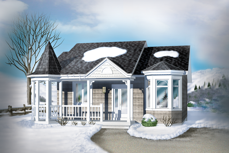 Cottage Style House Plan - 1 Beds 1 Baths 940 Sq/Ft Plan #25-1220 Exterior - Front Elevation