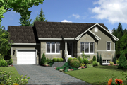 Ranch Style House Plan - 2 Beds 1 Baths 1064 Sq/Ft Plan #25-4547 Exterior - Front Elevation