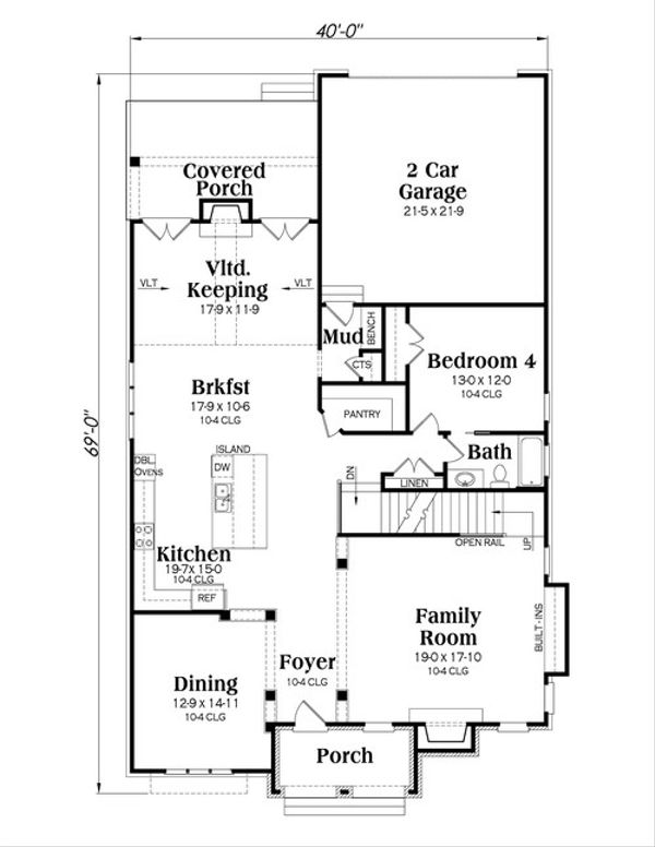 Traditional Floor Plan - Main Floor Plan Plan #419-246