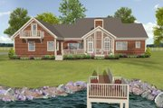 Beach Style House Plan - 3 Beds 3 Baths 2183 Sq/Ft Plan #56-640 Exterior - Rear Elevation