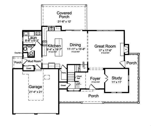 House Plan Design - Farmhouse Floor Plan - Main Floor Plan #46-884
