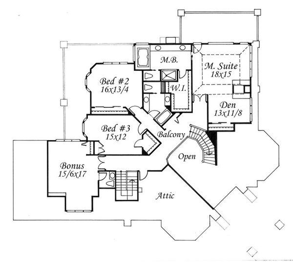 European Floor Plan - Upper Floor Plan Plan #509-47