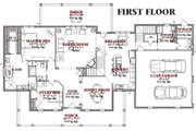 Traditional Style House Plan - 4 Beds 3.5 Baths 2859 Sq/Ft Plan #63-209 Floor Plan - Main Floor Plan