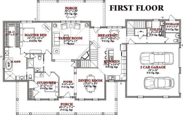 Traditional Floor Plan - Main Floor Plan Plan #63-209