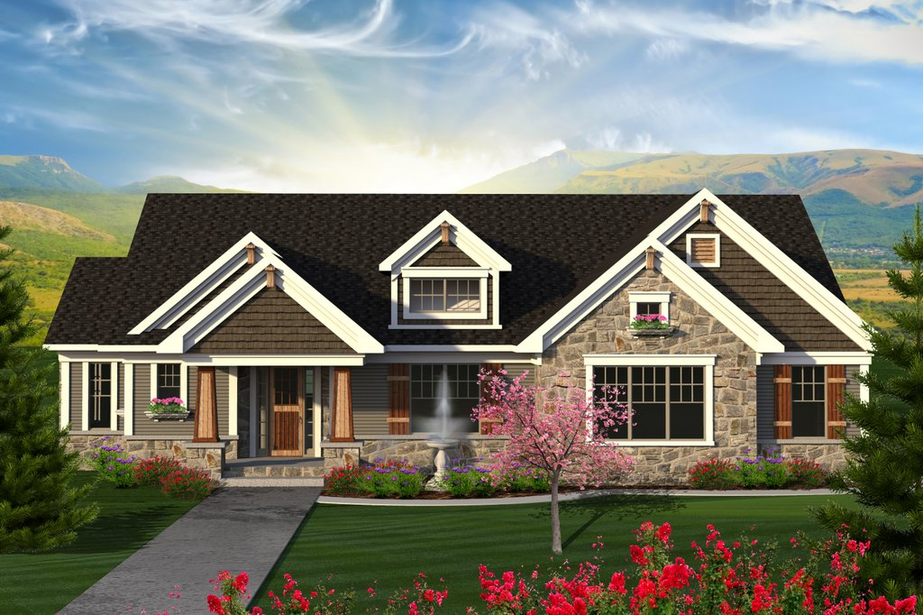 Ranch Exterior Front Elevation Plan 70 1202