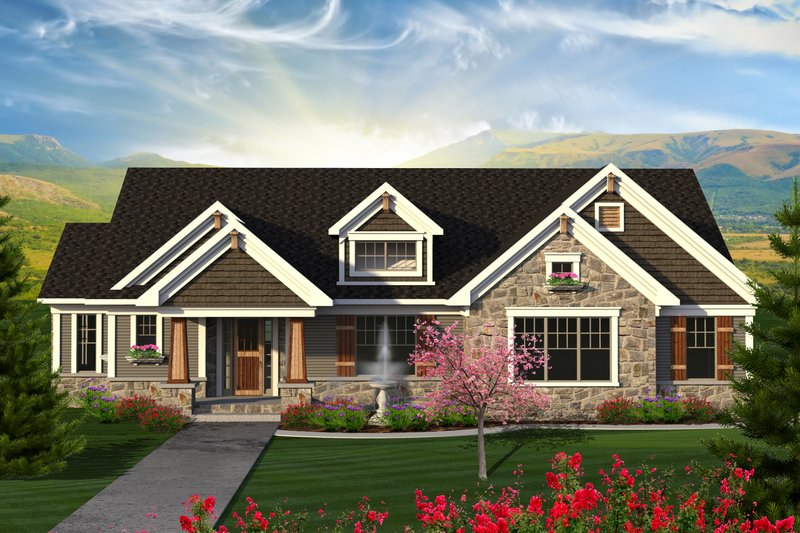 Home Plan - Ranch Exterior - Front Elevation Plan #70-1202