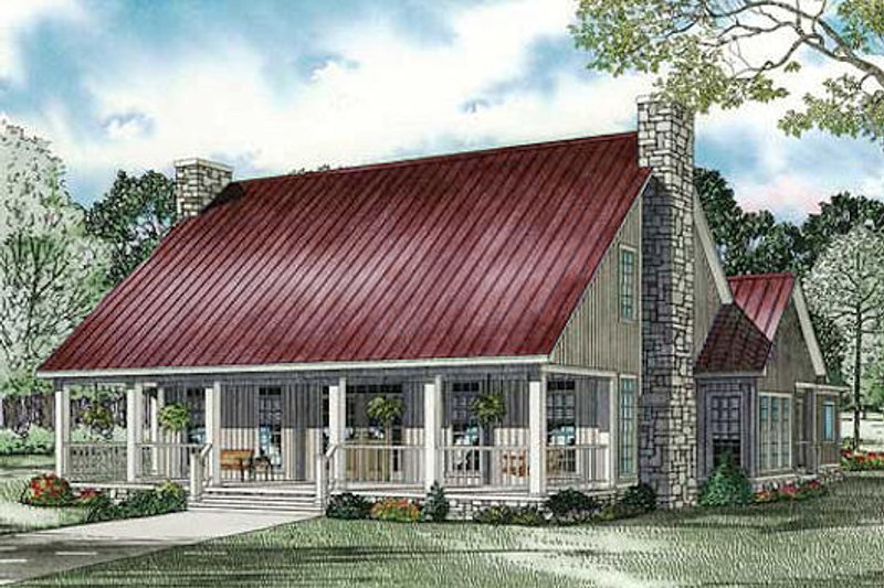 Farmhouse Style House Plan - 3 Beds 2.5 Baths 2607 Sq/Ft Plan #17-2441 Exterior - Front Elevation
