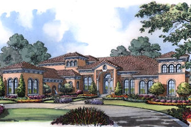 European Exterior - Front Elevation Plan #417-447