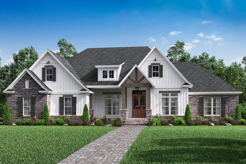 Craftsman Style House Plan - 4 Beds 2.5 Baths 2589 Sq/Ft Plan #430-170 Exterior - Front Elevation