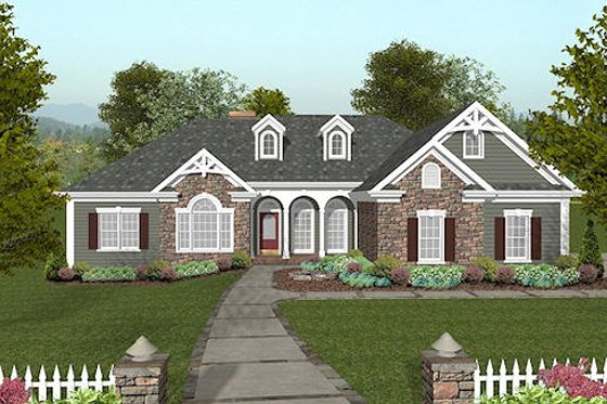 Craftsman Exterior - Front Elevation Plan #56-568