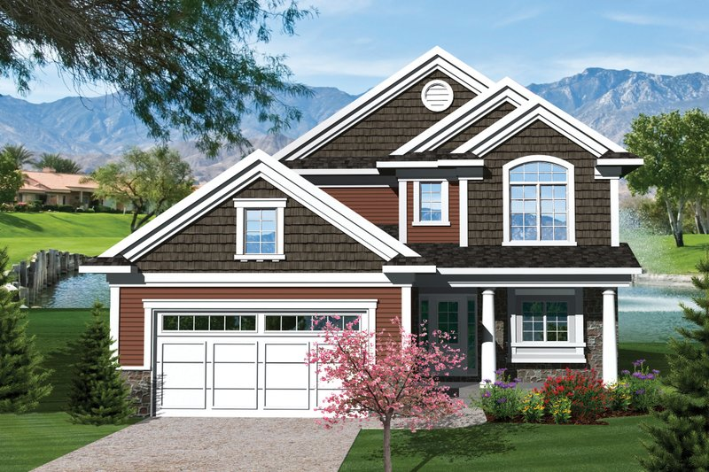 Craftsman Style House Plan - 3 Beds 2.5 Baths 1612 Sq/Ft Plan #70-1043 Exterior - Front Elevation