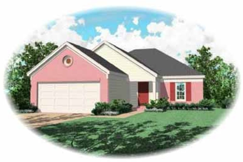 Traditional Style House Plan - 3 Beds 2 Baths 1292 Sq/Ft Plan #81-150 Exterior - Front Elevation