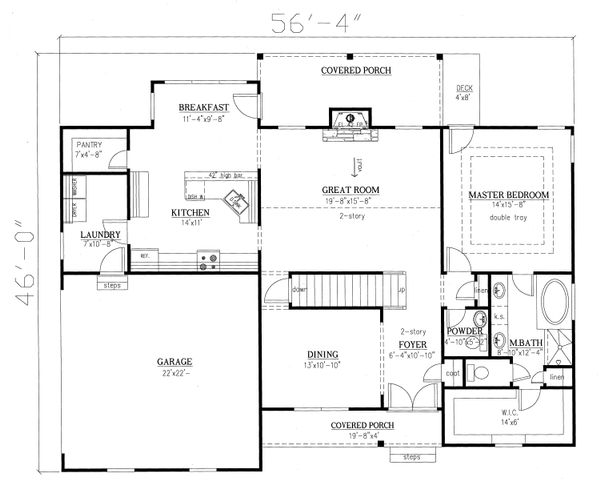 Traditional Floor Plan - Main Floor Plan Plan #437-84