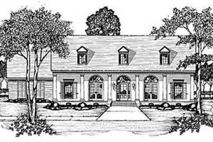 Southern Exterior - Front Elevation Plan #36-194