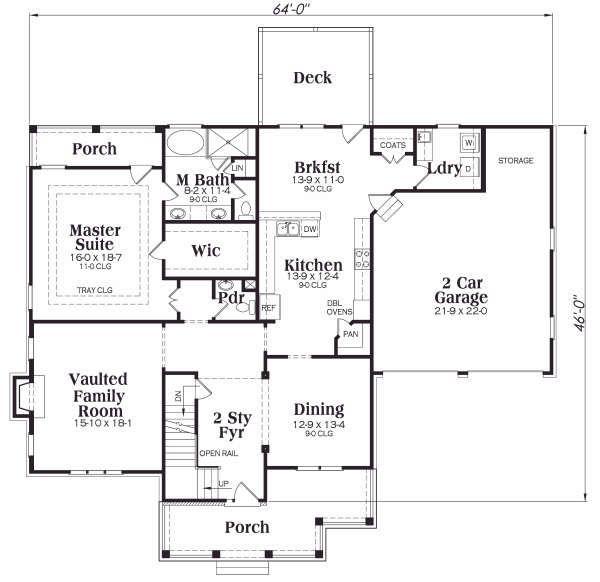 Dream House Plan - Craftsman Floor Plan - Main Floor Plan #419-137