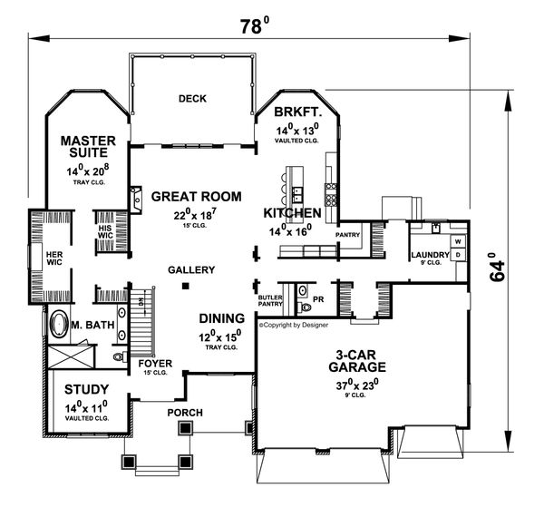 House Plan Design - Craftsman Floor Plan - Main Floor Plan #20-2454