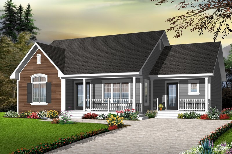 Cottage Style House Plan - 3 Beds 1 Baths 1470 Sq/Ft Plan #23-2279