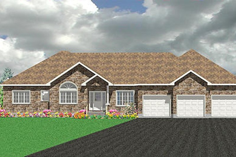 Traditional Style House Plan - 3 Beds 2.5 Baths 2299 Sq/Ft Plan #414-138 Exterior - Front Elevation
